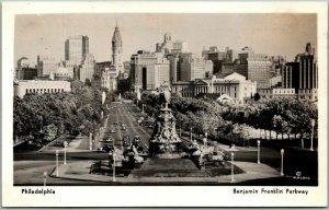 Vintage PHILADELPHIA PA RPPC Real Photo Postcard Benjamin Franklin Parkway