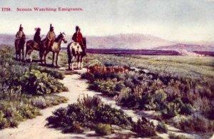 SCOUTS WATCHING EMIGRANTS 1758. Native Americans on horseback