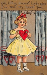 LP72  Valentine's Day Postcard HBG Artist Girl in Yellow Dress
