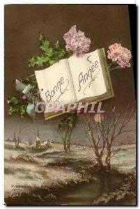 Old Postcard Fantasy Moon Flowers
