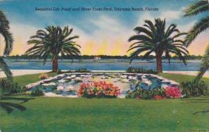 Florida Daytona Beach Beautiful Lily Pond And River Front Park 1955