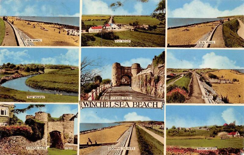 Winchelsea Beach Sea Wall Rye Road Marsh Strand Gate 1963