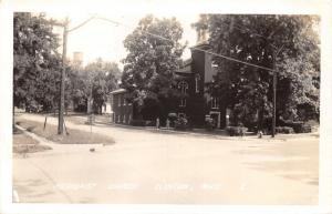 Clinton Michigan~Methodist Church & Street View~Courtesy Makes Safety~40s RPPC
