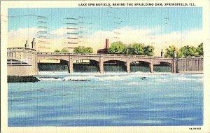 Lake Springfield Spaulding Dam Springfield ILL. Postcard Standard View Card