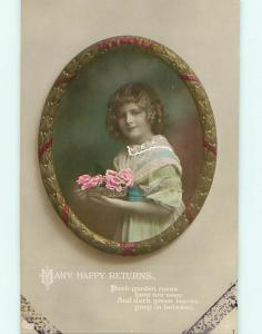 Circa 1910 rppc PRETTY GIRL HOLDS A WICKER BASKET OF PINK ROSE FLOWERS r6722