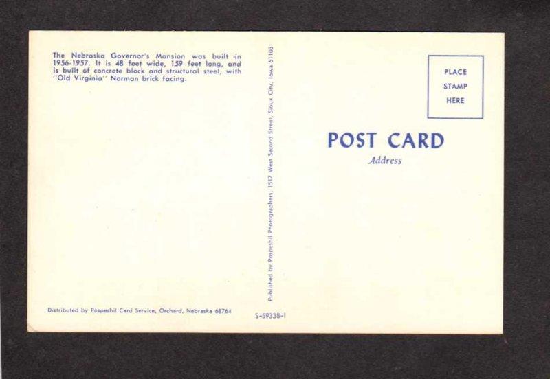 NE Governor's Mansion House Lincoln Nebraska Postcard