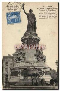 Old Postcard Paris Statue Of The Republic Of The Republic Square Lion