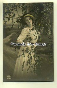 su1833 - Young Lady in a Red and White Dress, under a Tree -  postcard