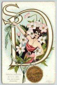 G Howard Hilder~South Dakota State Fantasy Girl in Large Letter SD~Anemone~1907