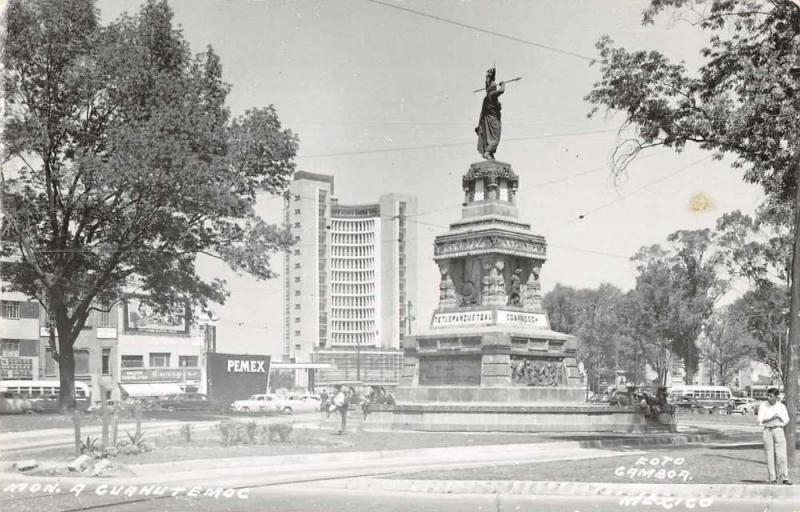 Mexico City Mexico Cuauhtemoc Monument Real Photo Vintage Postcard JA4741576