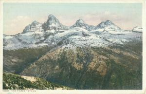 The Three Tetons, Wyoming Vintage Phostint Postcard