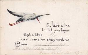 Birth Announcement, Stork Flying, PU-1917