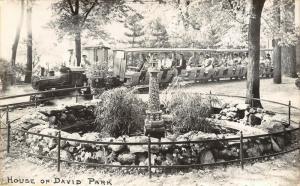 Benton Harbor MI~Lighthouse Fountain in Rock Garden~Mini-Train~RPPC 1940s