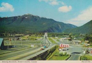 Revelstoke British Columbia Esso Petrol Station Garage 1970s Canadian Postcard