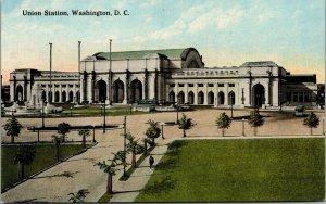 Vtg 1910's Union Station Train Railroad Washington DC Antique Postcard