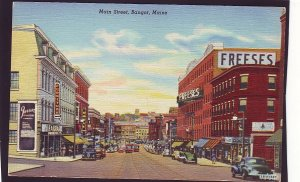 P1525 old unused postcard old cars trollies store signs etc bangor maine