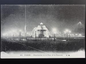 France Paris Illumination de la Place de la Concorde, Old Postcard by C.M. No.85
