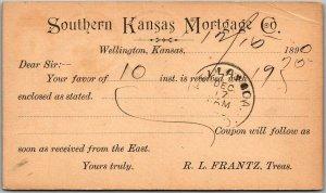 1890 Wellington KS Business Postcard SOUTHERN KANSAS MORTGAGE CO. Statement Card