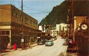 Juneau Alaska~Franklin Street~George Bros~Warfield Drugs~Street Clock~50s Cars