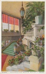 CHICAGO, Illinois; 10-20s; Edgewater Beach Hotel, Entrance, Staircase