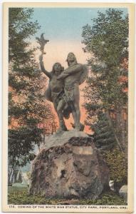 Coming of the White Man Statue, City Park, Portland, Oregon, unused Postcard