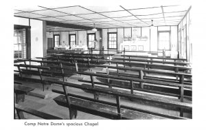 Spofford NH Spacious Chapel at Camp Notre Dame Real Photo Postcard