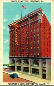 Vtg Advertising Postcard 1939 Hotel Planters Chicago IL Greatest HOTEL Value