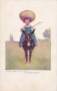 Young Girl Riding Donkey A Rough Rider Signed Wall