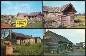 (6) Tennessee ETOWAH Village of 1800 Highway 411 Log Houses (2) Dups - Chrome