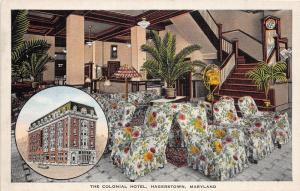F5/ Hagerstown Maryland Postcard Linen 2View Colonial Hotel