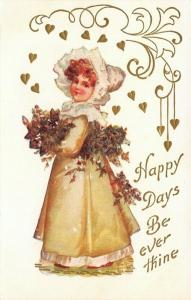 Clapsaddle Girl Vignette~Yellow Gown~Ruffle Hat~Gold Leaf Art Nouveau~White Emb