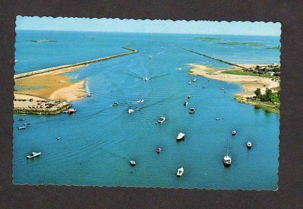 ME Boats Harbor Jetty Camp Ellis Saco Maine Postcard Carte Postale Hills Beach