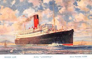 White Star Line Cunard Ship Post Card, Old Vintage Antique Postcard RMS Lanca...