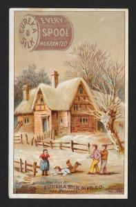 VICTORIAN TRADE CARD Eureka Silk Thread Country House