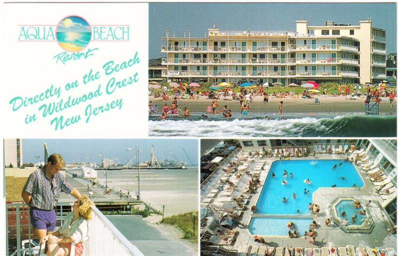 Wildwood Crest Nj Aqua Beach Resort 1990s Multiview Postcard
