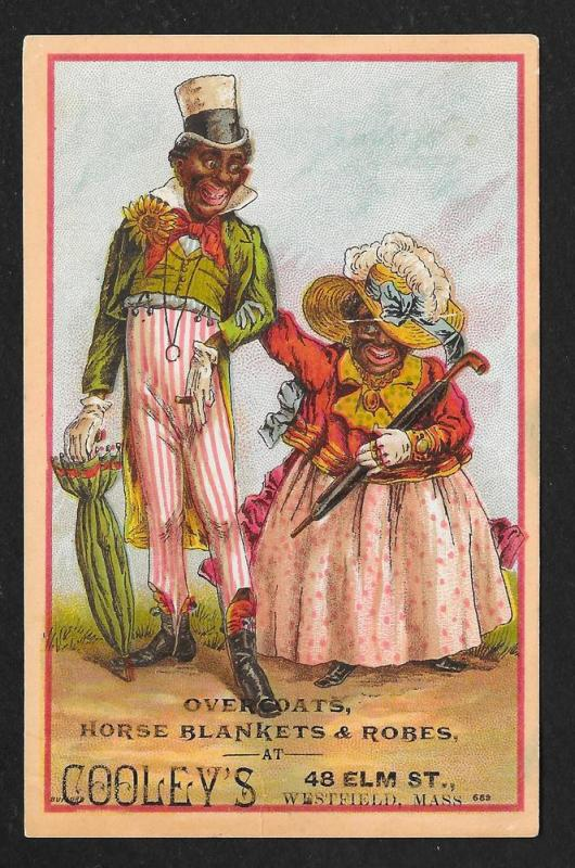 VICTORIAN TRADE CARD Cooley's Blankets Black Couple Dressed