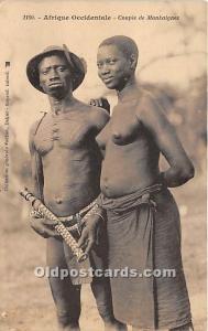Couple de Mankaignes African Nude Postcard Afrique Occidentale Writing on back
