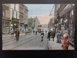DERBY St. Peters Street BRAY LIBRARY & W.MORRIS SHOPS c1909 Postcard by W.R.& S.