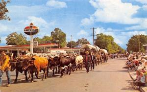 Pendleton Oregon~Westward Ho Parade~American Standard Gas Station 1950s Postcard