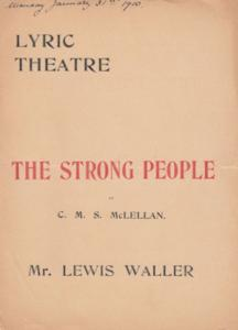 The Strong People Lewis Waller Military Play Lyric Theatre Programme