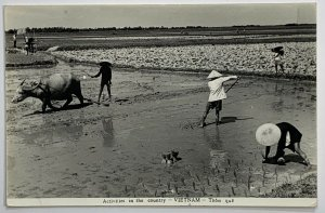 Old Real Photo Postcard RPPC Vietnam Activities Country 1967 APO 96238 Qui Nhon