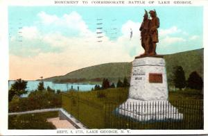 New York Lake George Monument To Commemorate Battle Of Lake George 1931