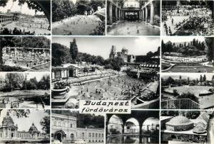 Hungary Budapest furdovaros 1960s multi views postcard