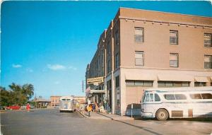 Detroit Lakes Minnesota~Greystone Hotel~Greyhound Bus Depot~Buses~1950s Cars~PC