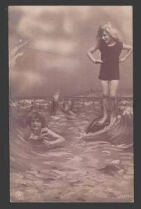 113338 Swiming Girls as MERMAIDS Vintage PHOTO Collage NPG PC