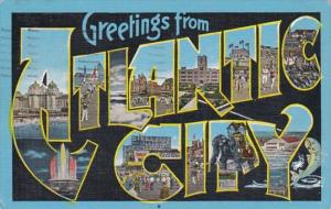 New Jersey Greetings From Atlantic City Large Letter Linen 1946
