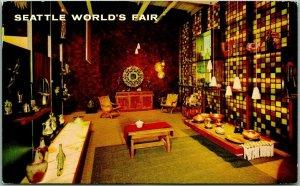 1962 SEATTLE WORLD'S FAIR Postcard MEXICAN PAVILION Exhibit Interior w/ Cancel