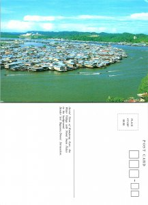 Aerial View of Kampong Ayer, the Water Village with Nwerd Iman Palace, Bander...