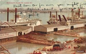 1916 Steamboat Docks Mississippi River St Louis Missouri Hammon postcard 7523