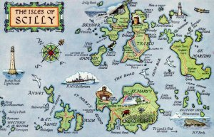 The Isles of Scilly Map Postcard, St Mary's, St Martin's, Tresco, Bryher GS5